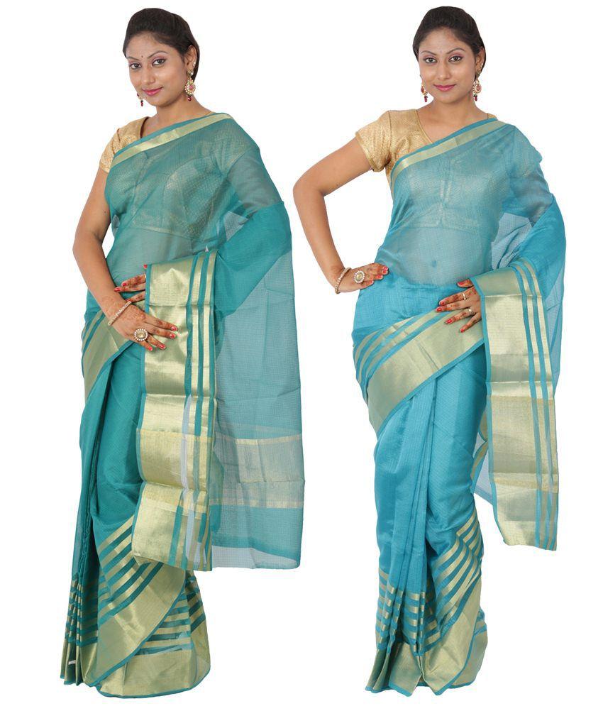 Maharaja Fashion Blue Art Silk Pack of 2
