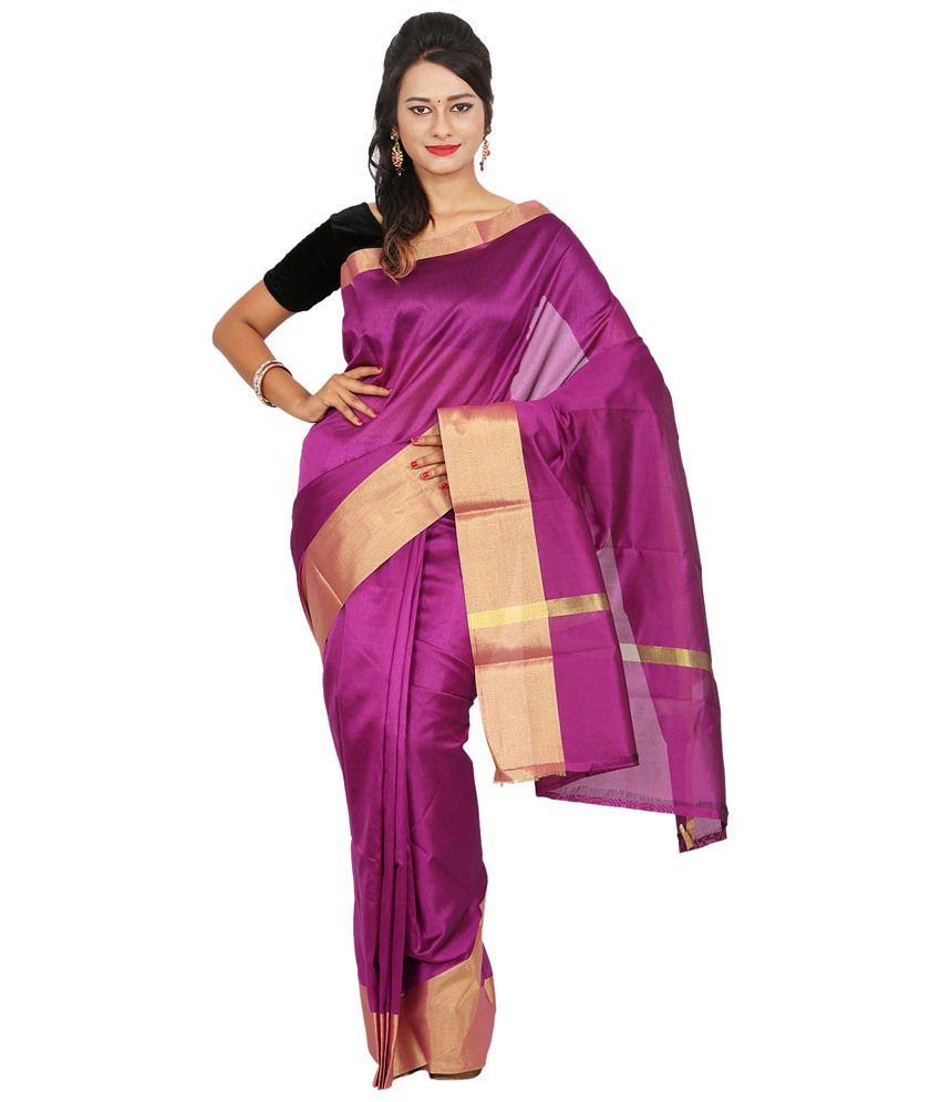 Maharaja Fashion Purple Art Silk Saree