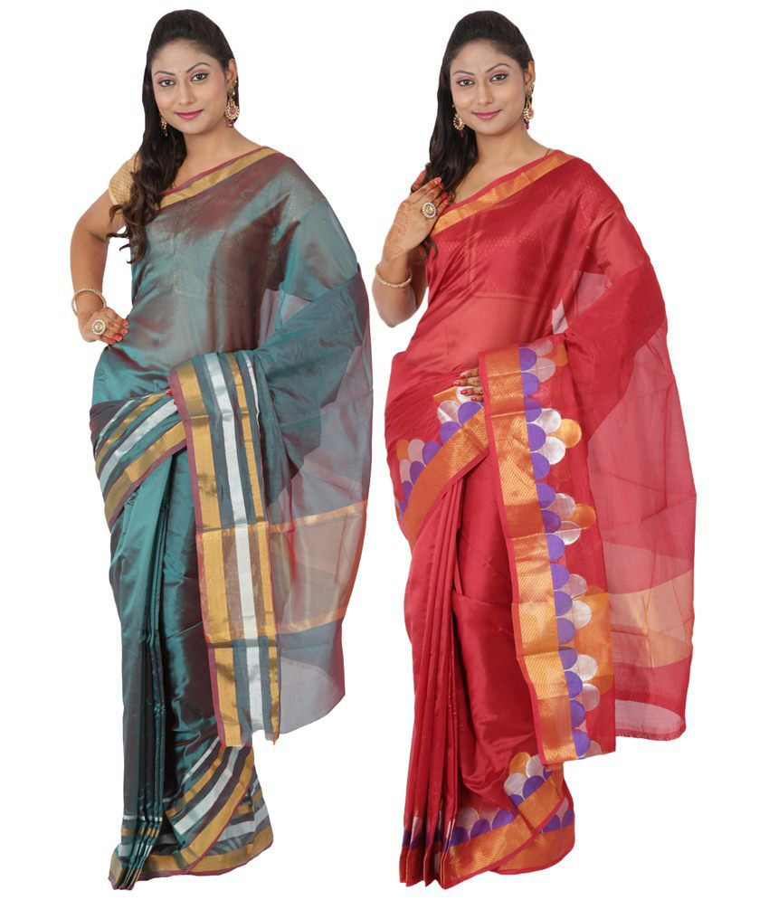 Maharaja Fashion Turquoise & Red Art Silk Pack of 2