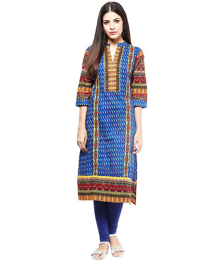 Shree Blue Cotton STRAIGHT Kurti
