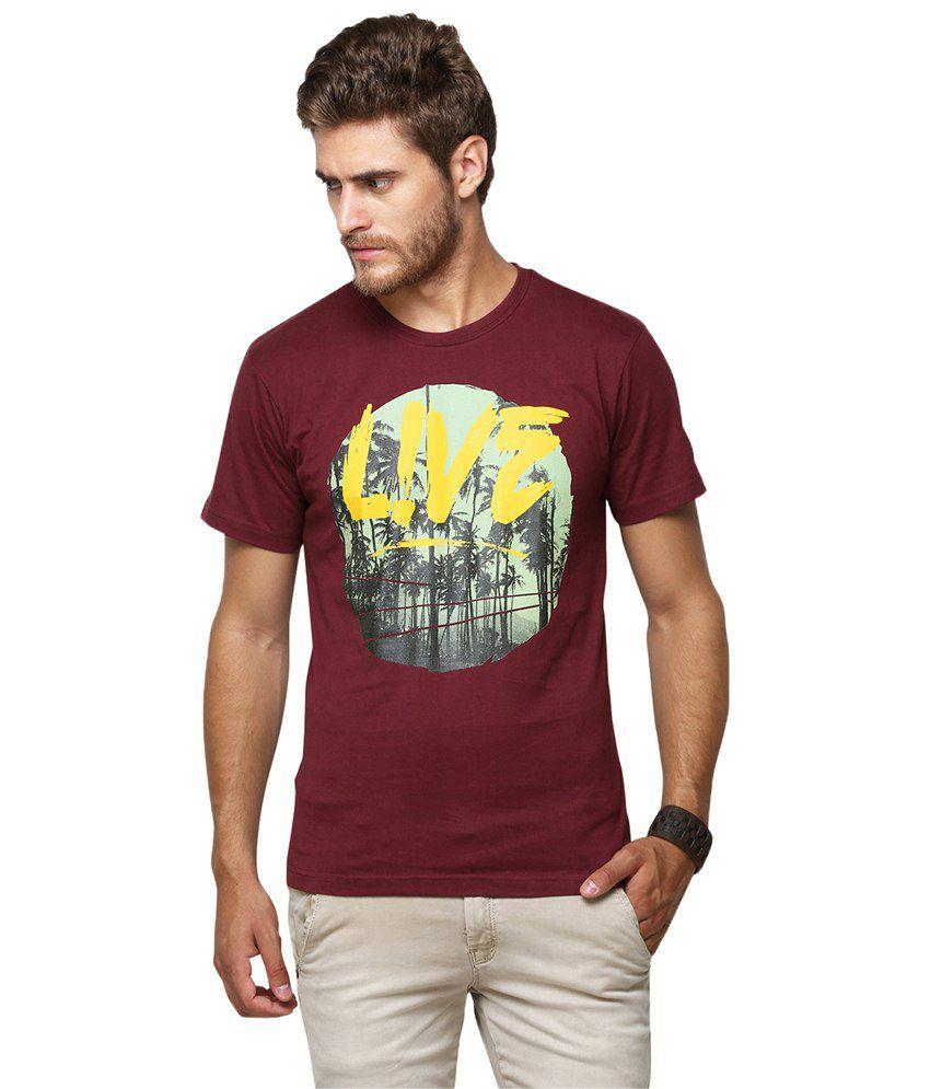 Yepme maroon live t shirt for men buy yepme maroon live for Maroon t shirt for men