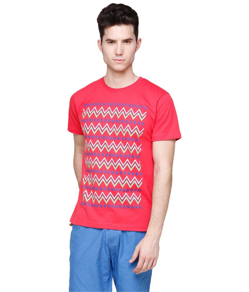 Yepme Red Awry Stripes T Shirt for Men