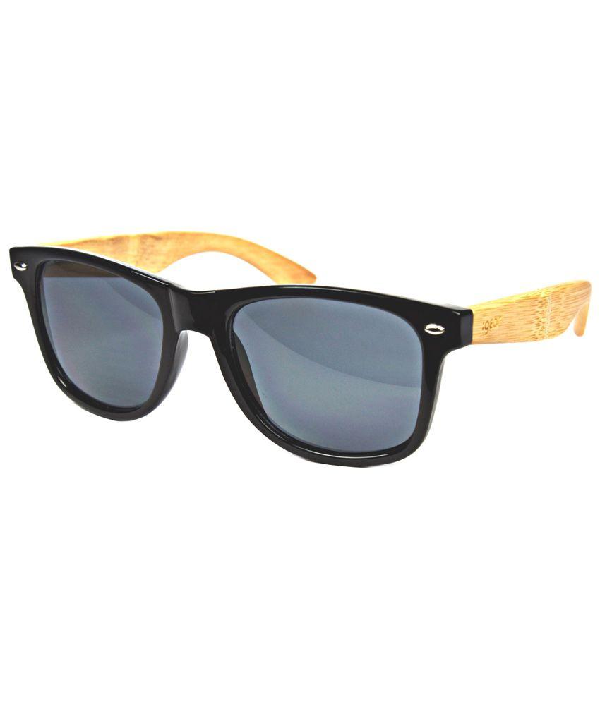 iGear Gray Lens Bamboo Wayfarer Sunglasses for Men