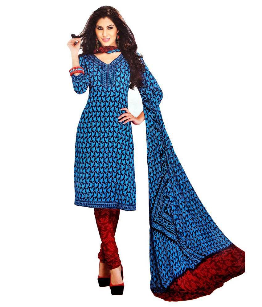 Coco Fashion Blue Cotton Unstitched Dress Material Buy Coco Fashion Blue Cotton Unstitched