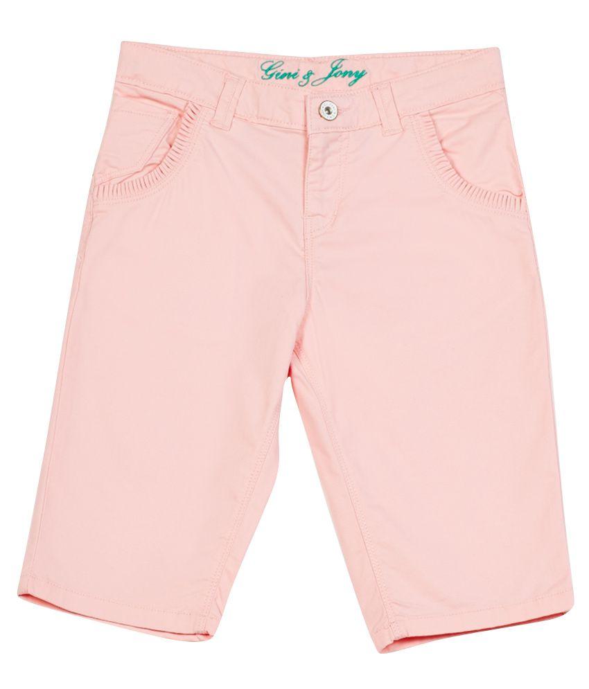 Gini & Jony Pink Cotton Pedal Pusher