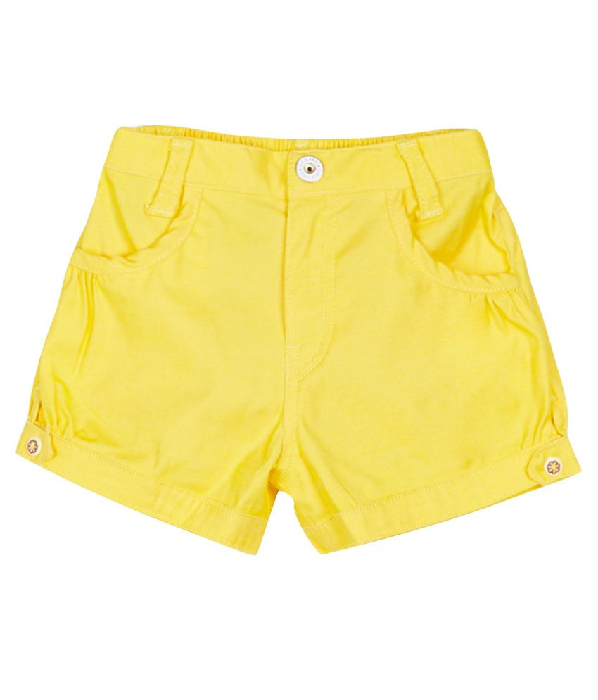 Gini & Jony Yellow Cotton Shorts