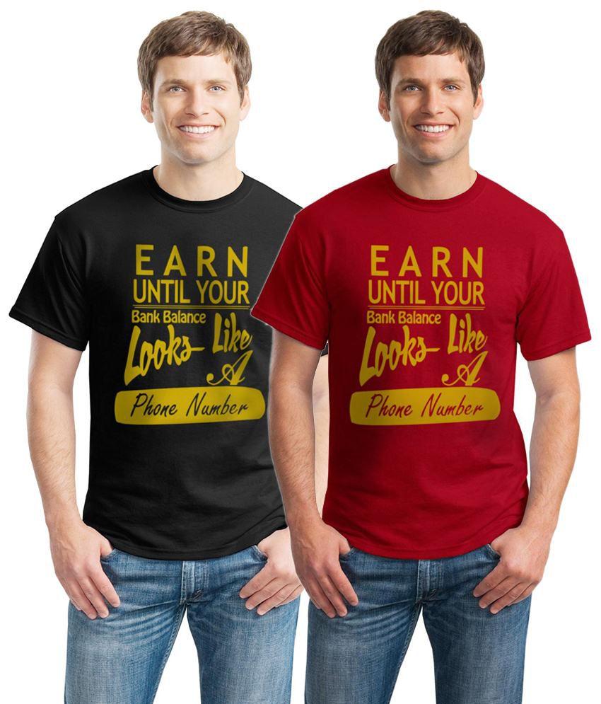 Inkvink Clothing Skin Friendly Pack of 2 Black & Red Comic T Shirts for Men