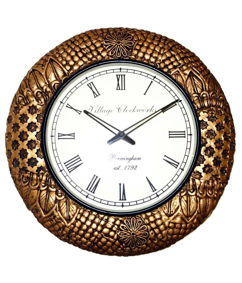 Lal haveli brown traditional handmade wooden frame wall for Traditional wall clocks india