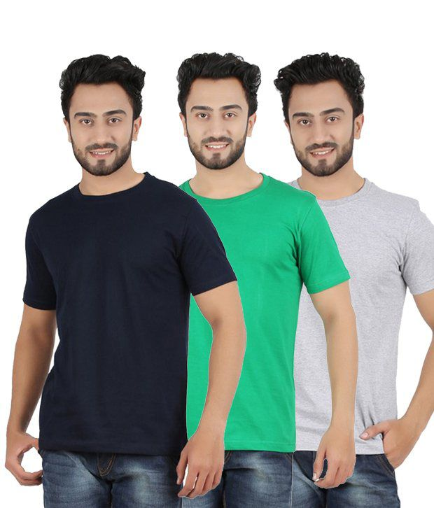 Pulse Multi-coloured Cotton Round Neck T- Shirts (Pack of 3)