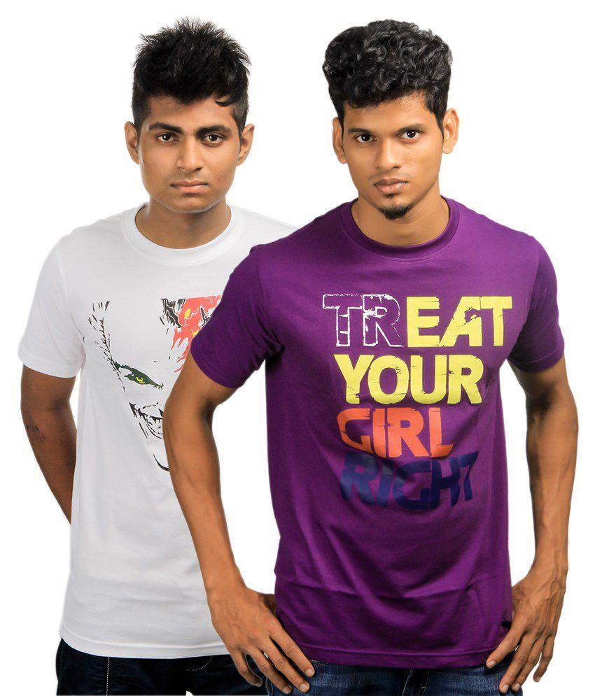 Paradigm Purple & White Cotton Round Neck T-Shirt (Pack of 2)