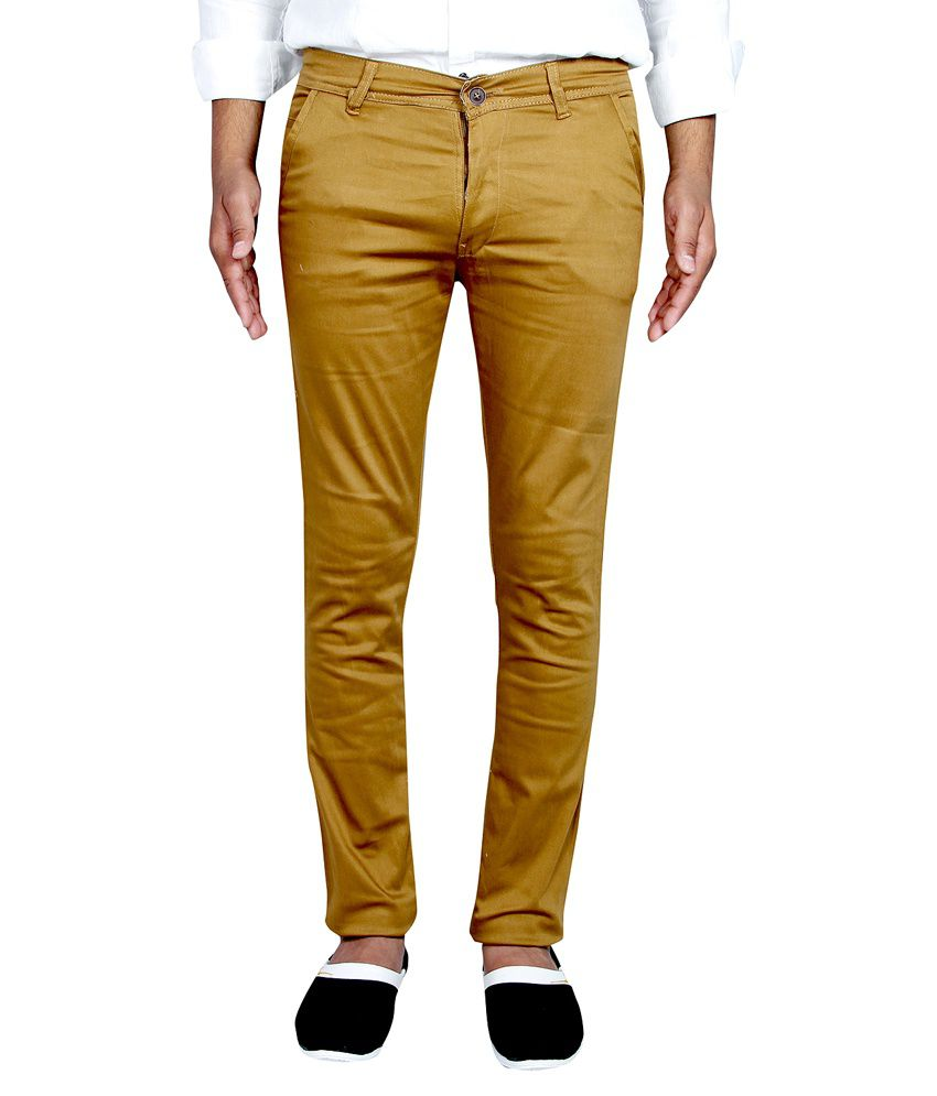 Routeen Khaki Cotton Lycra Slim Fit Chinos