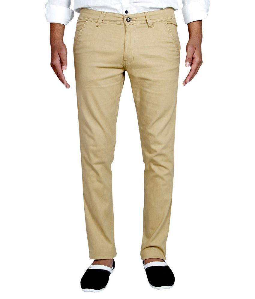 Routeen Tan Cotton Lycra Slim Fit Chinos