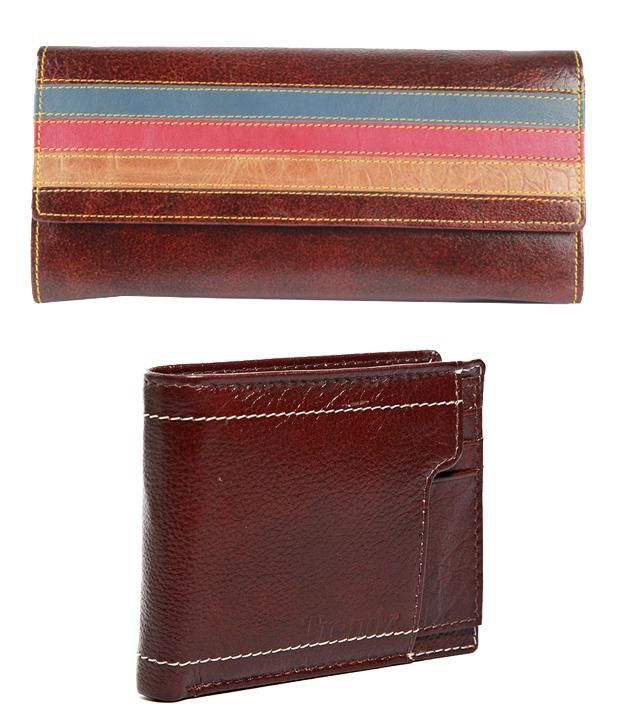 Trendz Brown Leather Men & Women Wallets Combo