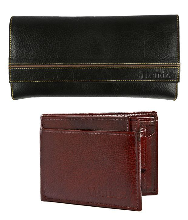 Trendz Fashionable Black Leather Men & Women Wallets Combo
