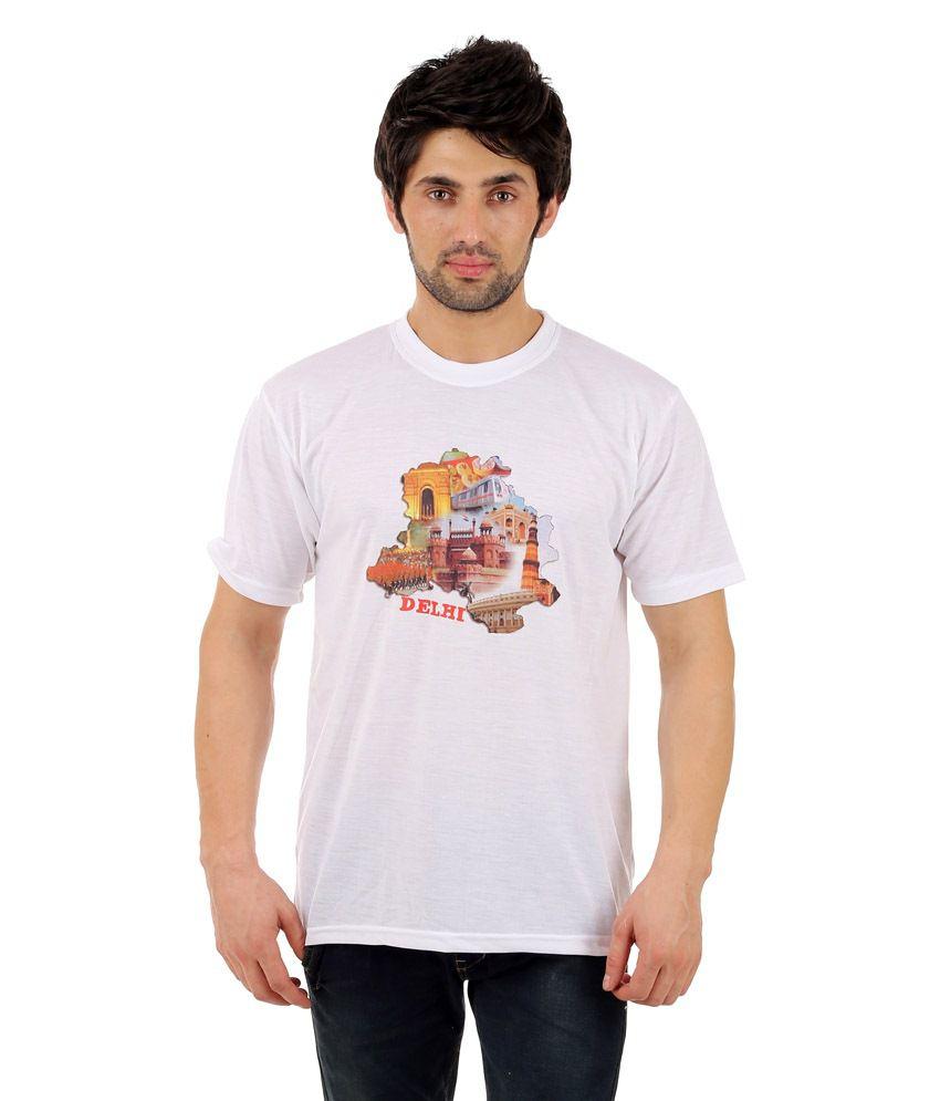 Zegi Appealing White & Brown Round Neck T Shirt for Men