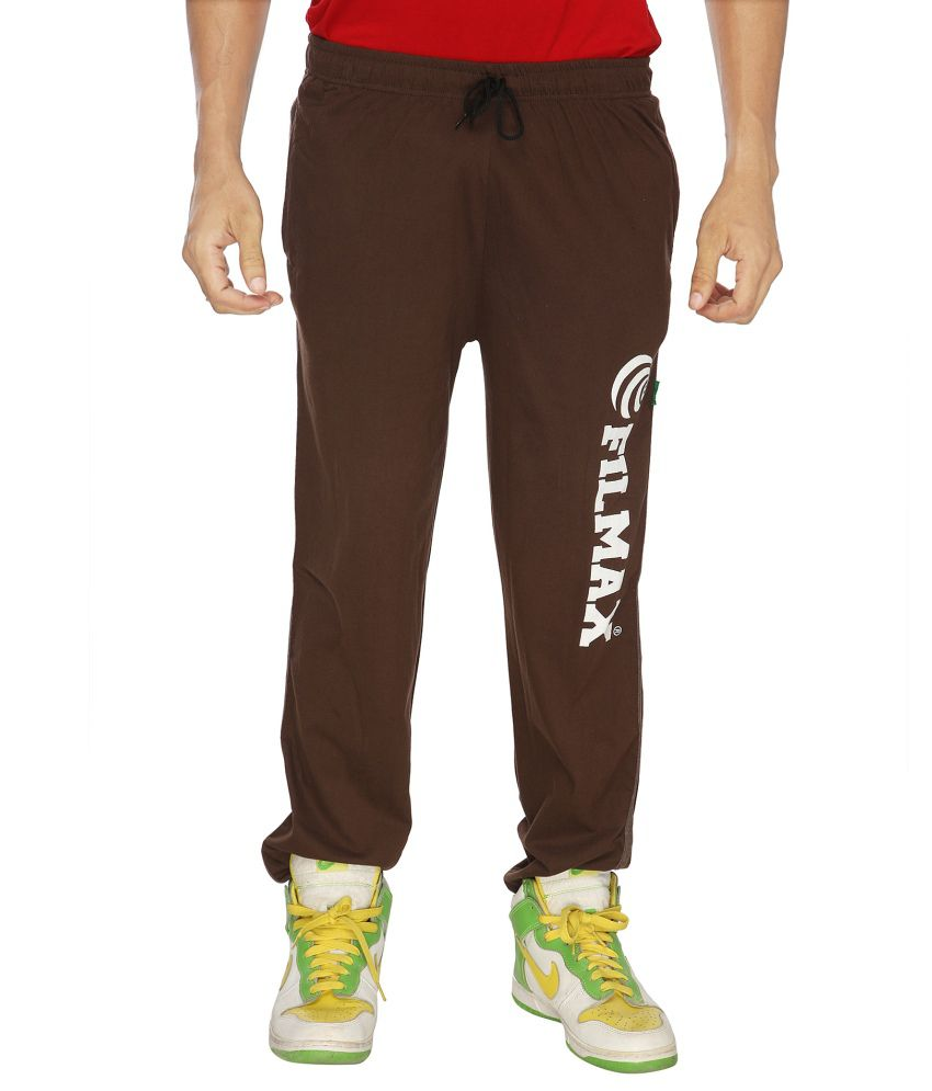 Filmax Brown Cotton Hosiery Track Pant