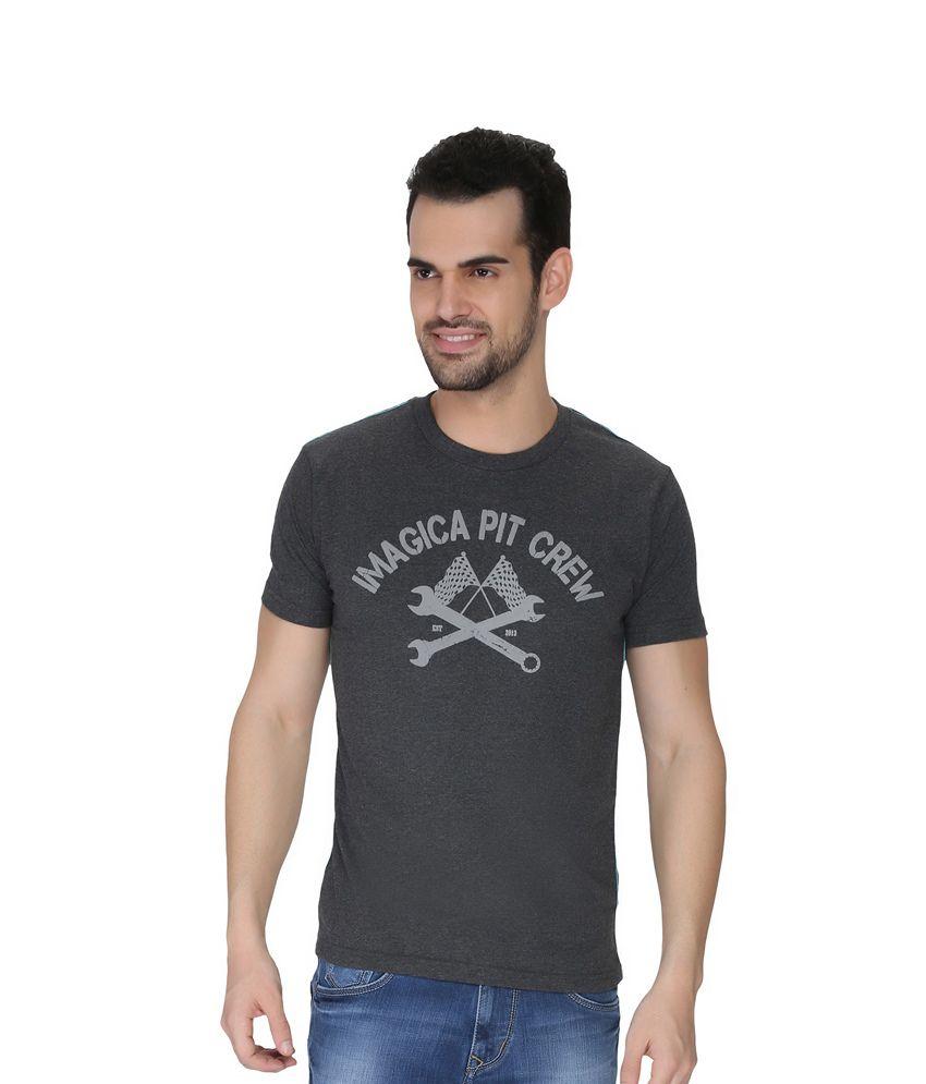 Imagica Black Cotton Blend Basics Round Neck T-Shirt