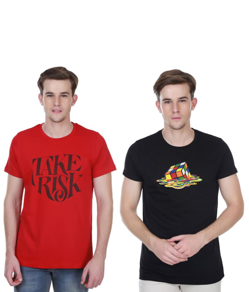 White Kalia Combo Of Red And Black Cotton T-shirts