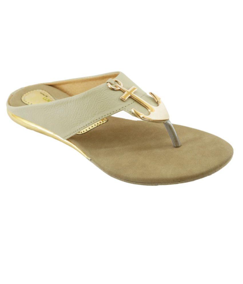 Am By Penny Beige Faux Leather Flat Sandal
