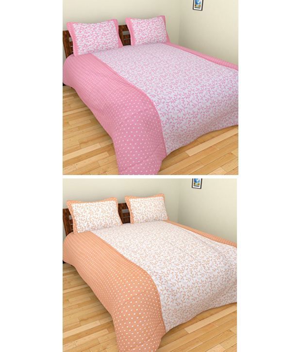 Bharti Multicolour Floral Cotton 2 Double Bedsheets With 4 Pillow Covers