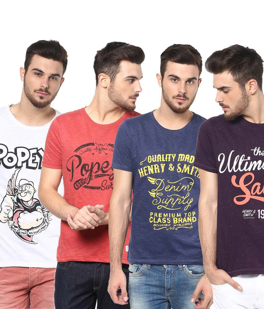 Henry and Smith Appealing Multicolour Pack of 4 Round Neck T Shirts for Men