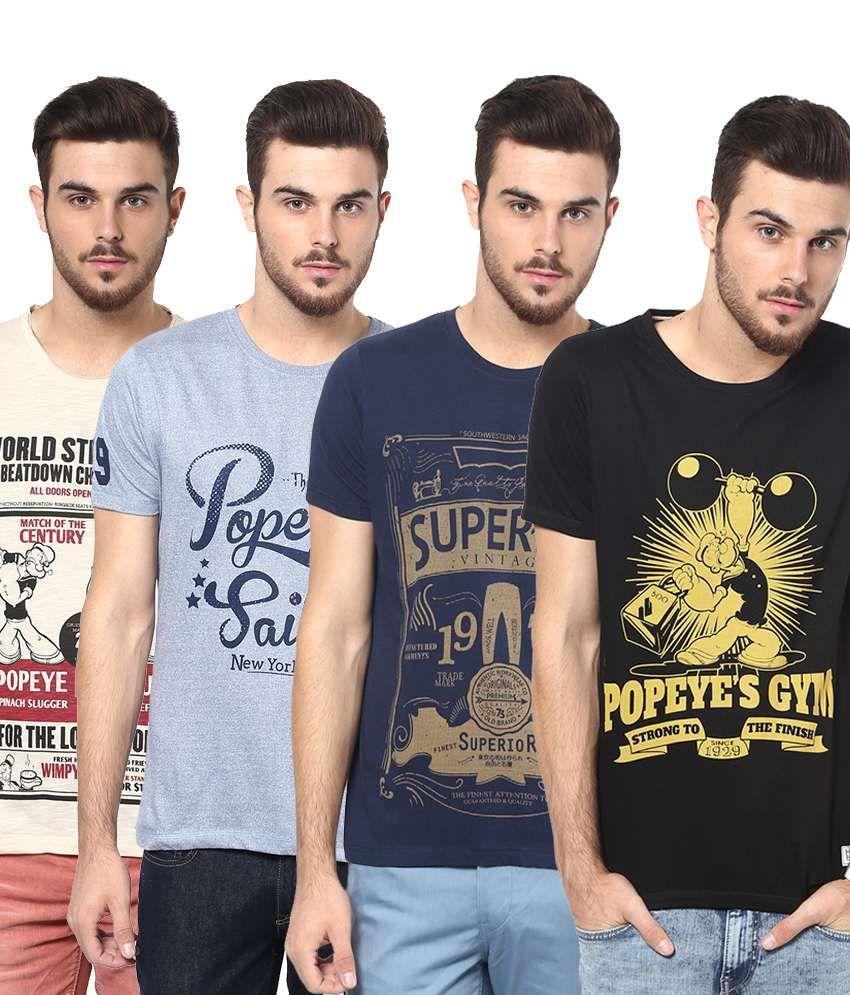 Henry and Smith Impressive Multicolour Pack of 4 Round Neck Cotton T Shirts for Men