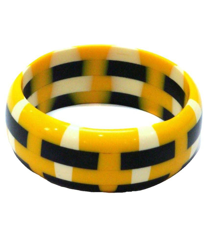 Jewel Goship Yellow & Black Alloy Kada