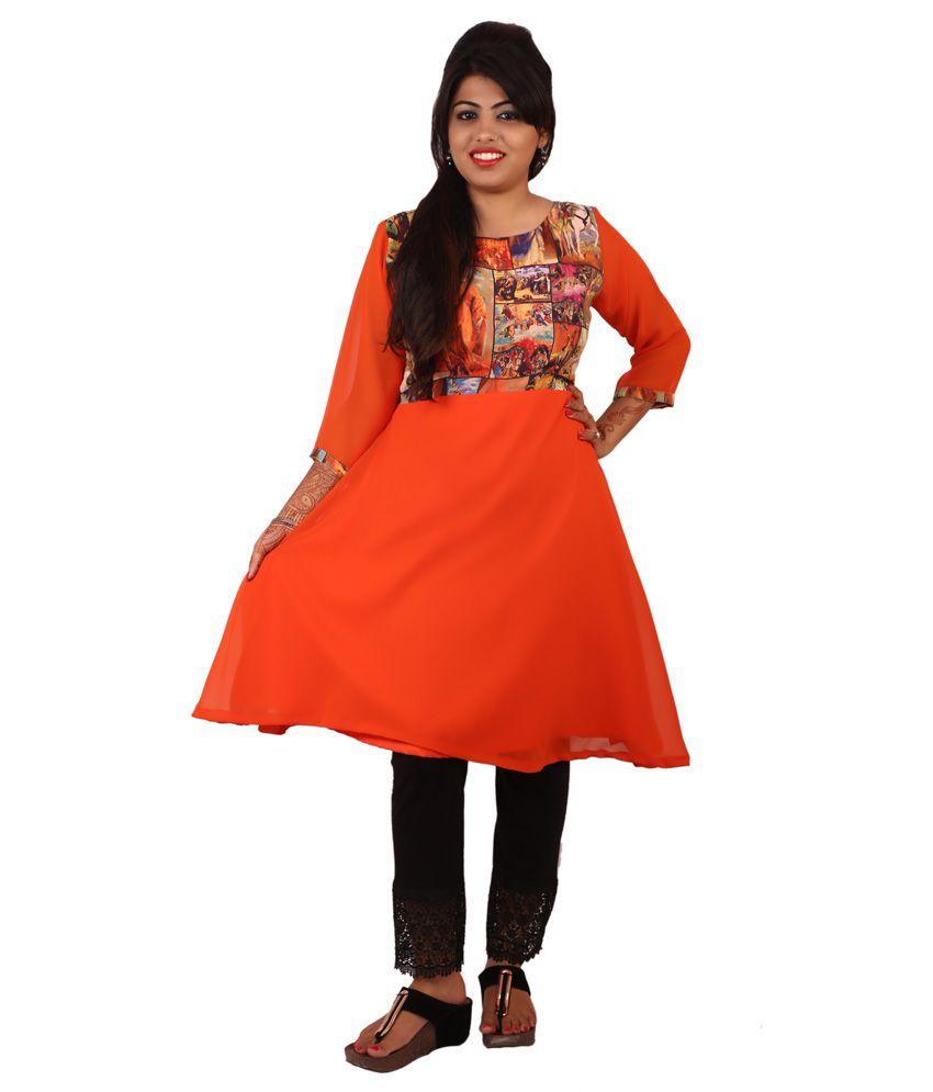 Kittu's Fashion House Orange Faux Georgette Kurti