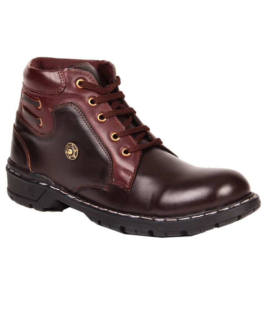 Red Marine Maroon Synthetic Leather Men Boots