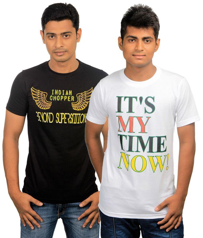 Paradigm Classy Pack of 2 Black & White T Shirts for Men