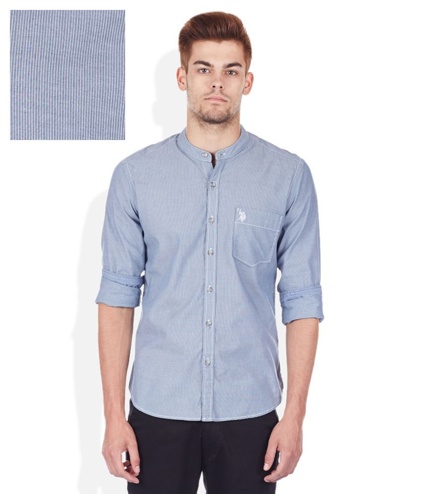 U.S. Polo Assn. Blue Slim Fit Mandarin Collar Shirt