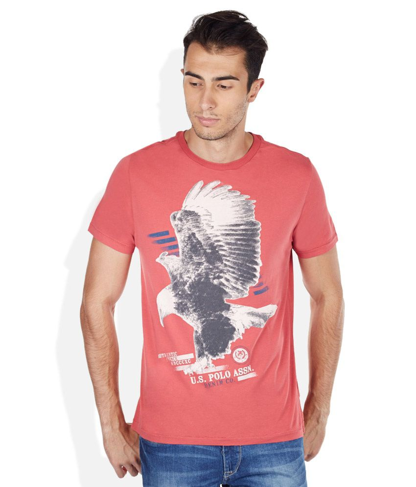 U.S. Polo Assn. Red Round Neck T Shirt