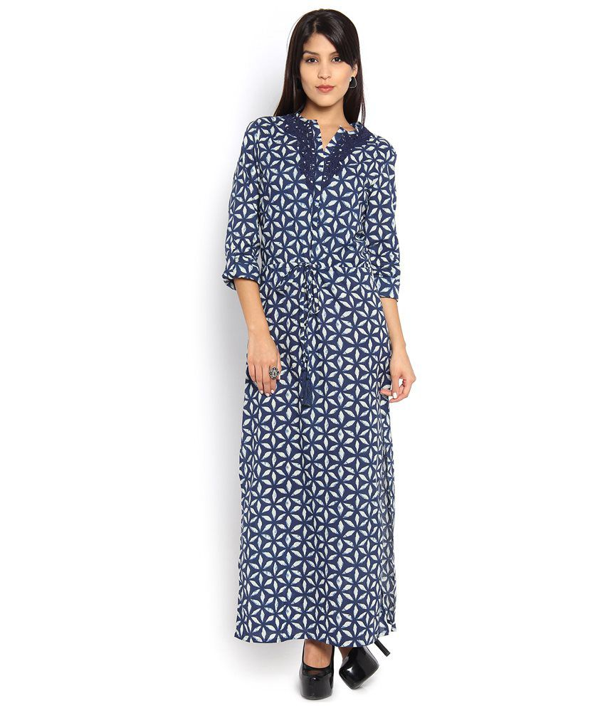 9fa485078aff Vishudh Navy Cotton Maxi Dress - Buy Vishudh Navy Cotton Maxi Dress Online  at Best Prices in India on Snapdeal