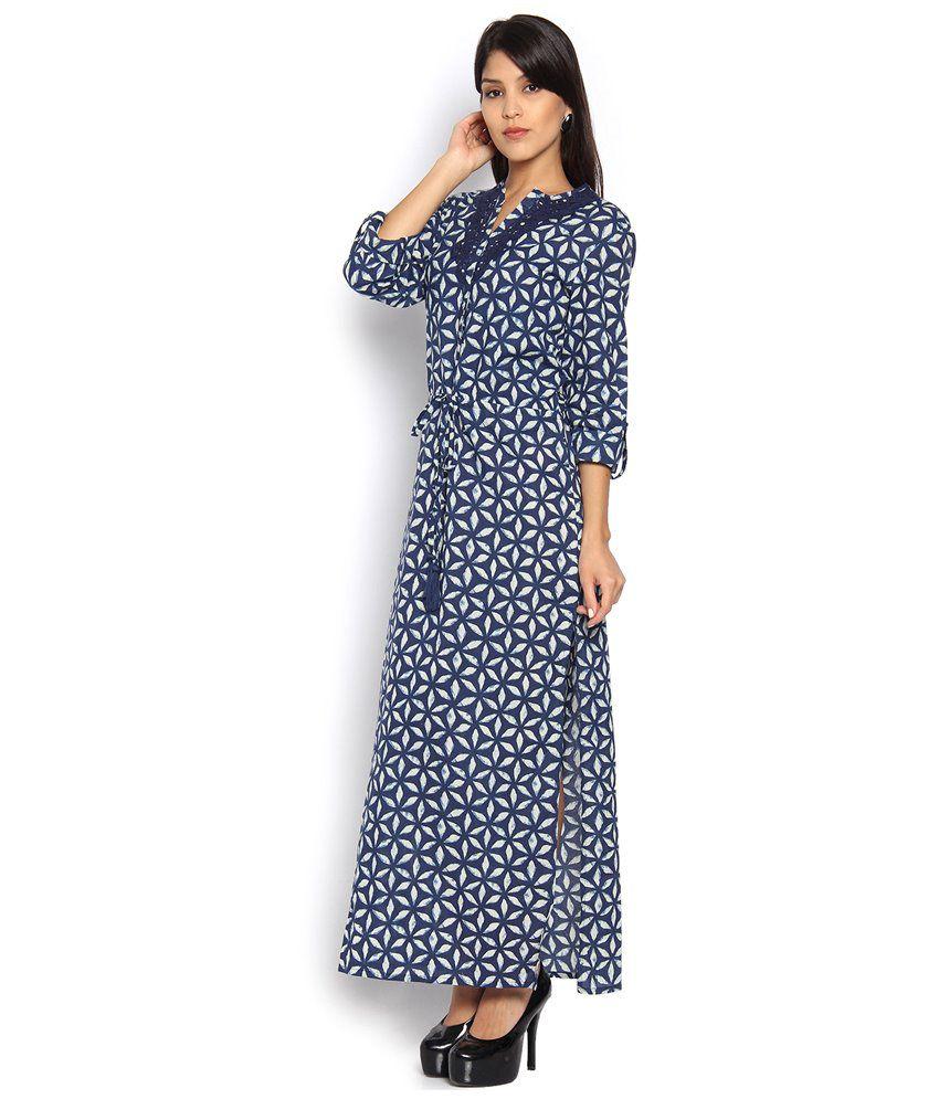 88278343f Vishudh Navy Cotton Maxi Dress - Buy Vishudh Navy Cotton Maxi Dress Online  at Best Prices in India on Snapdeal