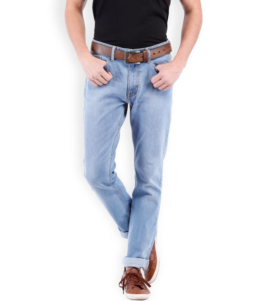 Locomotive Blue Blended Cotton Faded Jeans
