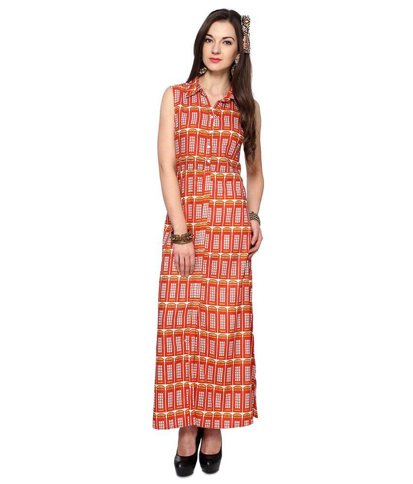 Akkriti by Pantaloons Red Rayon Maxi Dress - Buy Akkriti by ...