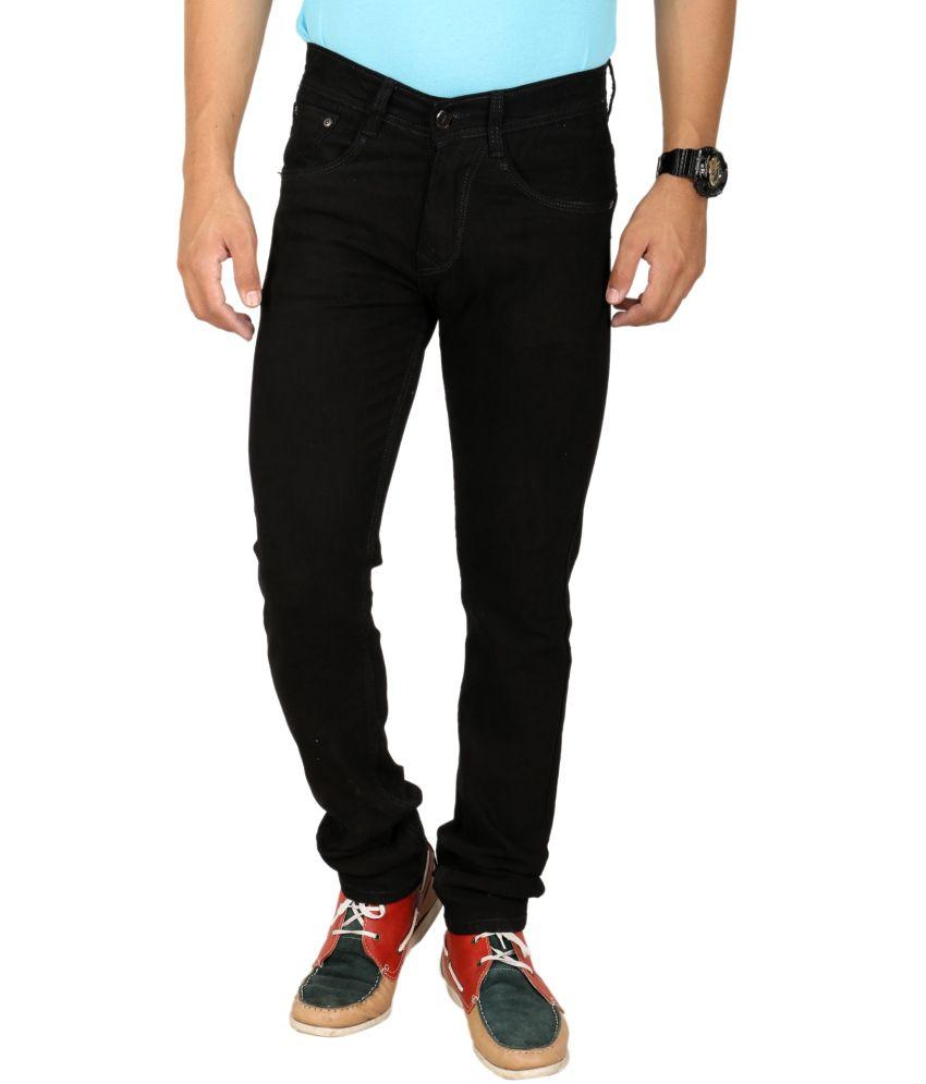 D2nine Black Cotton Stretchable Slim Fit Jeans