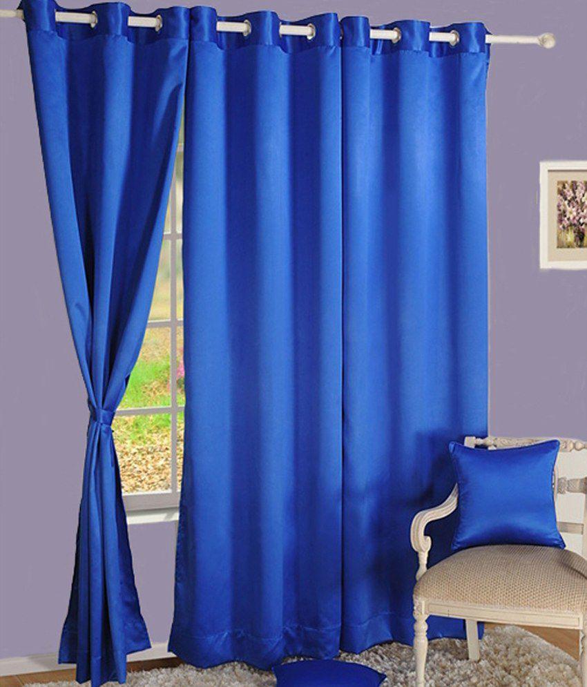 HOMEC Set of 4 Door Eyelet Curtains Solid Blue