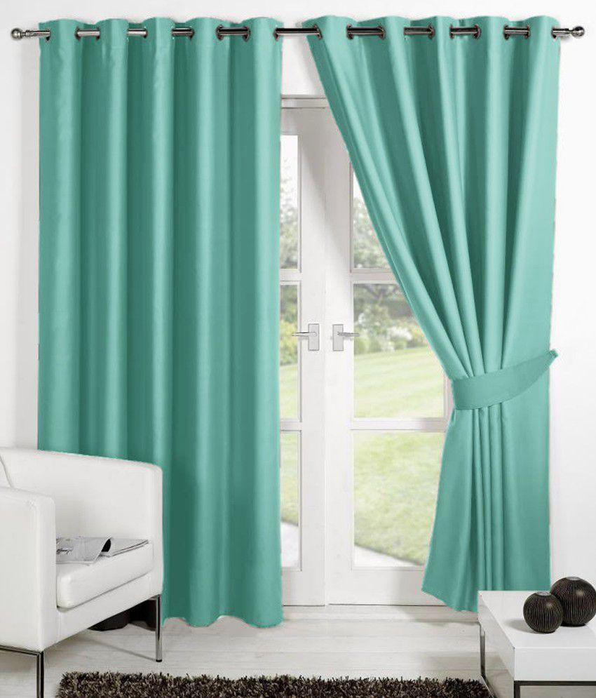 HOMEC Set of 4 Window Eyelet Curtains Solid Blue