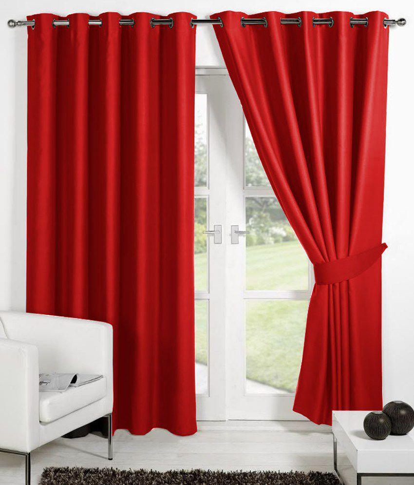 HOMEC Set of 2 Long Door Eyelet Curtains Solid Red