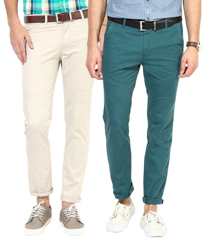 Silver Streak Green & Beige Cotton Chinos - Pack of 2