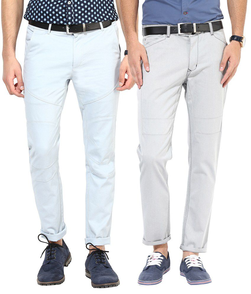 Silver Streak Grey & Blue Cotton Chinos - Pack of 2