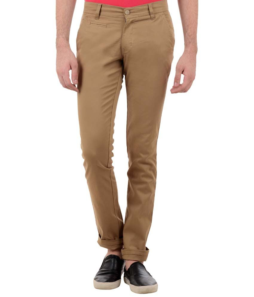TNG New York Classy Beige Slim Fit Chinos for Men