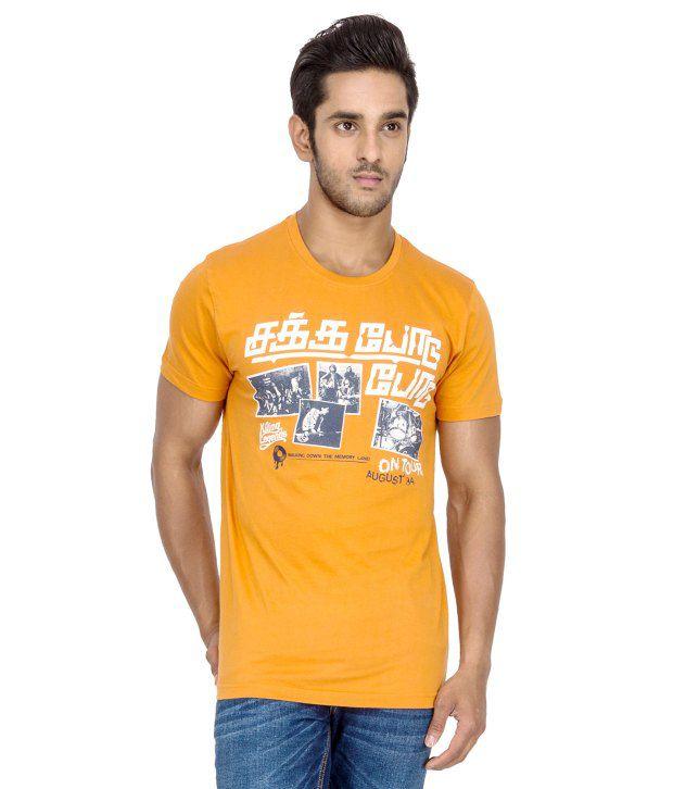 Tee Kadai Orange Printed Cotton T-Shirt