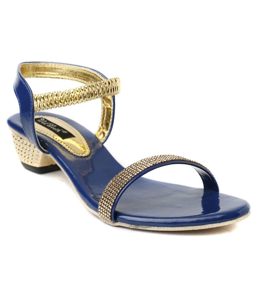 Wellworth Blue Patent Heeled Sandals