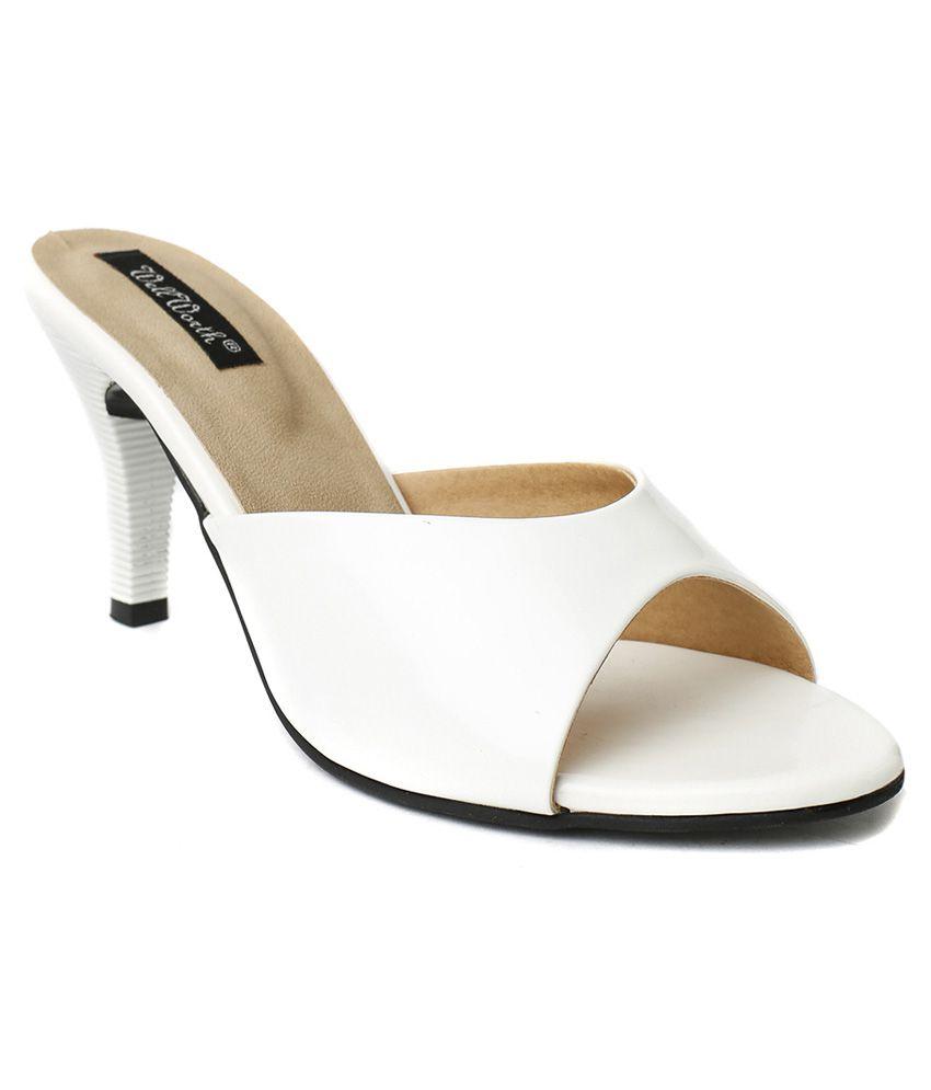 Wellworth White Resin Sheet Heeled Slip-on Sandals