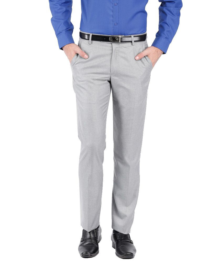 Black Coffee Gray Poly Viscose Formal Trouser