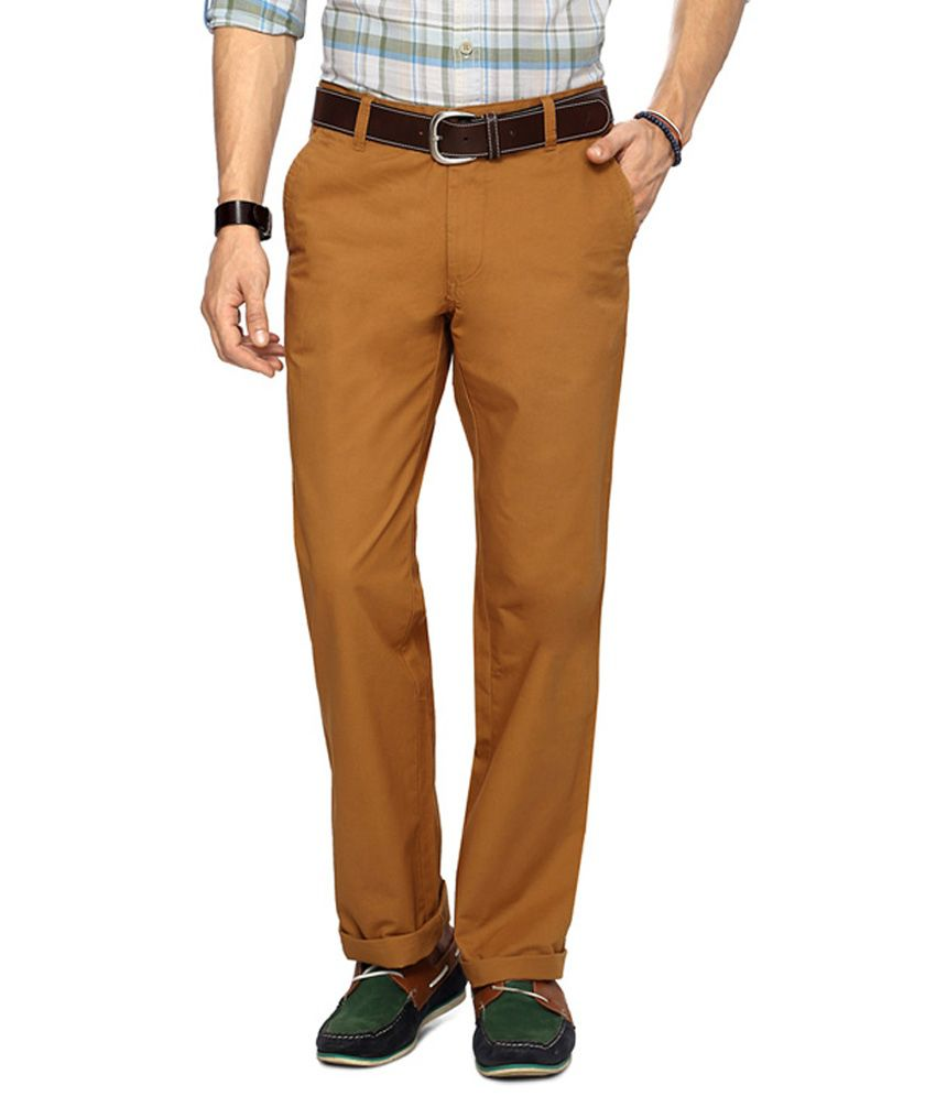 Byford by Pantaloons Brown Solid Regular Fit Trouser