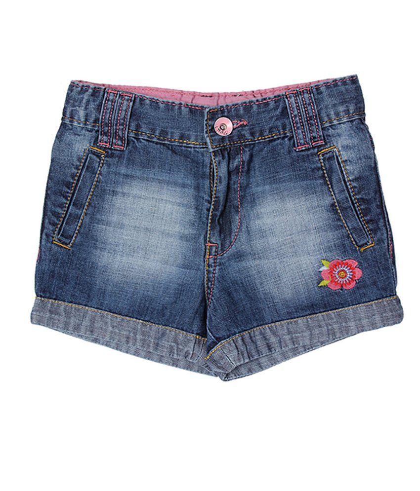 Chalk by Pantaloons Blue Casual Textured Shorts