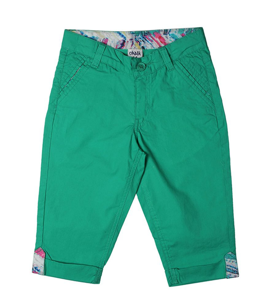 Chalk by Pantaloons Green Casual Solid Capris
